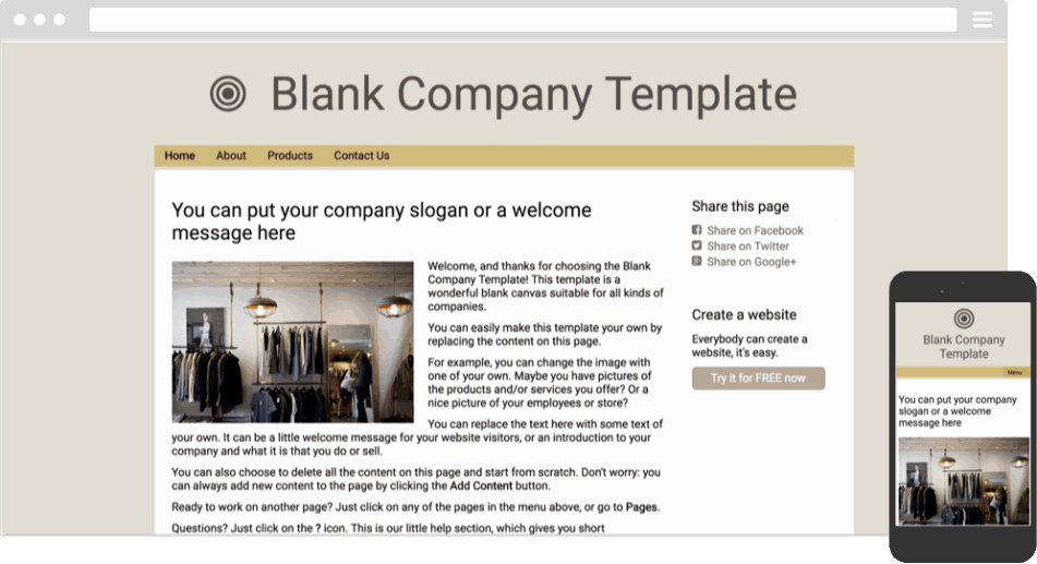 Mobile responsive template for a company website